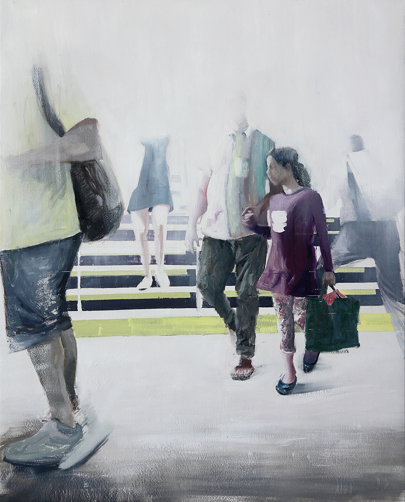 "8-9am Bethnal Green Tube Station (Waiting#201)      Oil on canvas     48""x60""    2014"