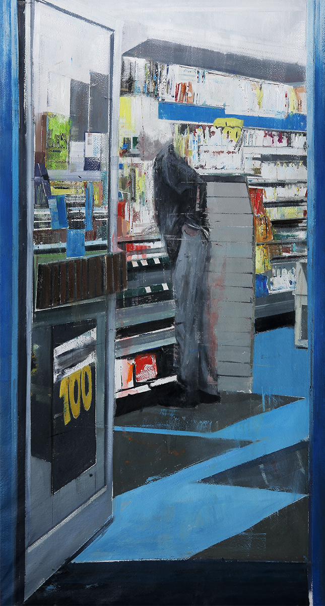 "10-11pm 124 West End Lane (Waiting#198)  Oil on canvas     42""x80""    2014"