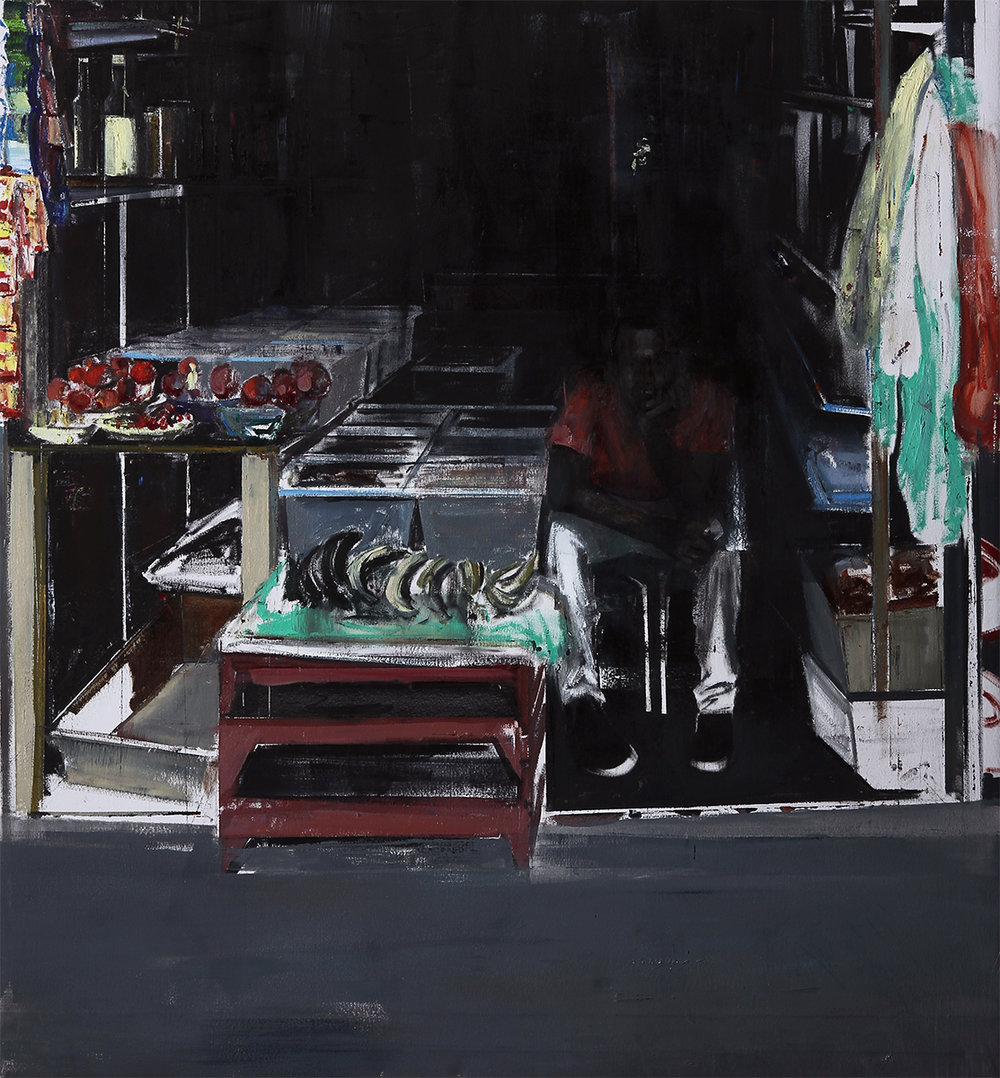 "11-12am-pm Ridley Road Market (Waiting#199)      Oil on canvas    60""x64""    2014"
