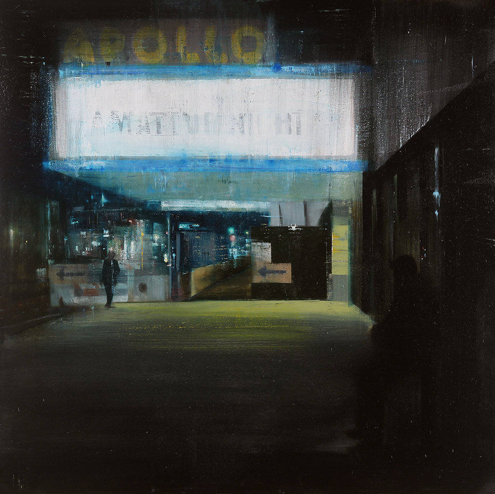 Apollo 10-11pm (Waiting#176)  oil on wood  36x36 inches  2013