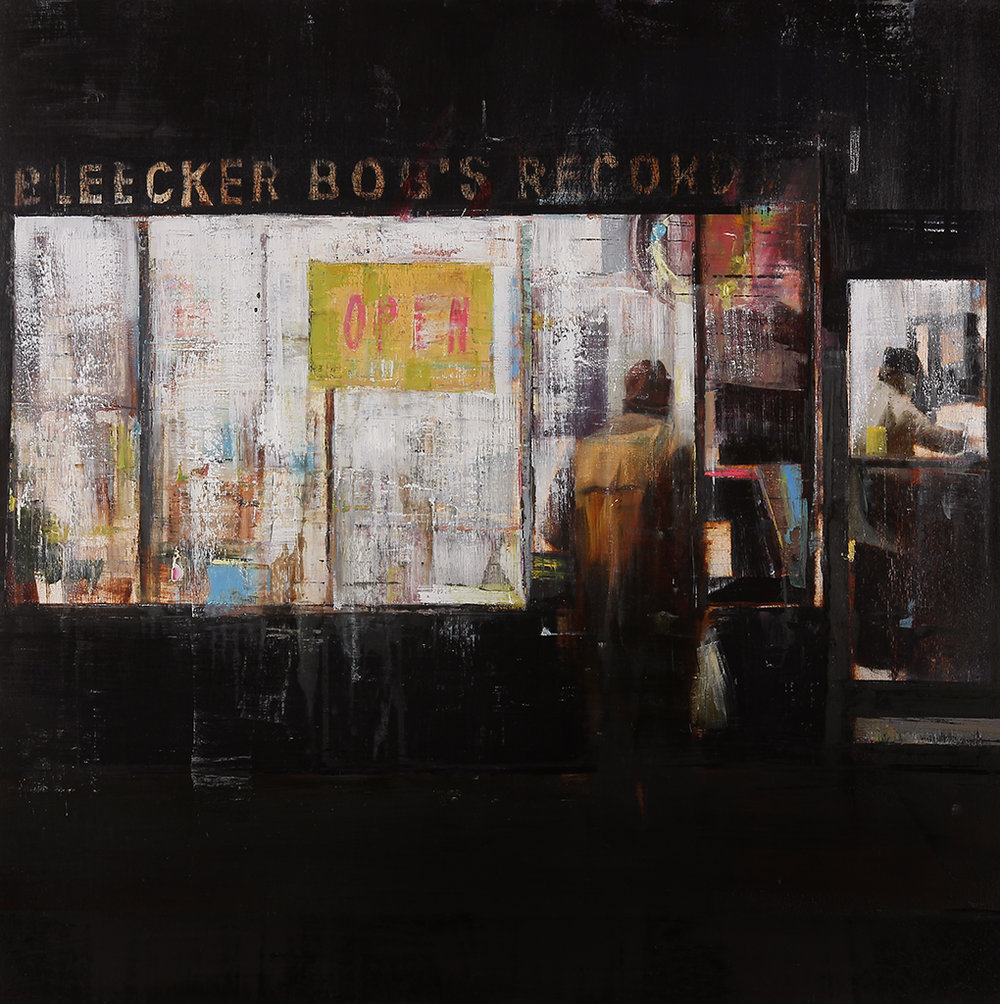 Bleecker Bob's 9-10pm (Waiting#173)  oil on wood    36x36 inches    2013