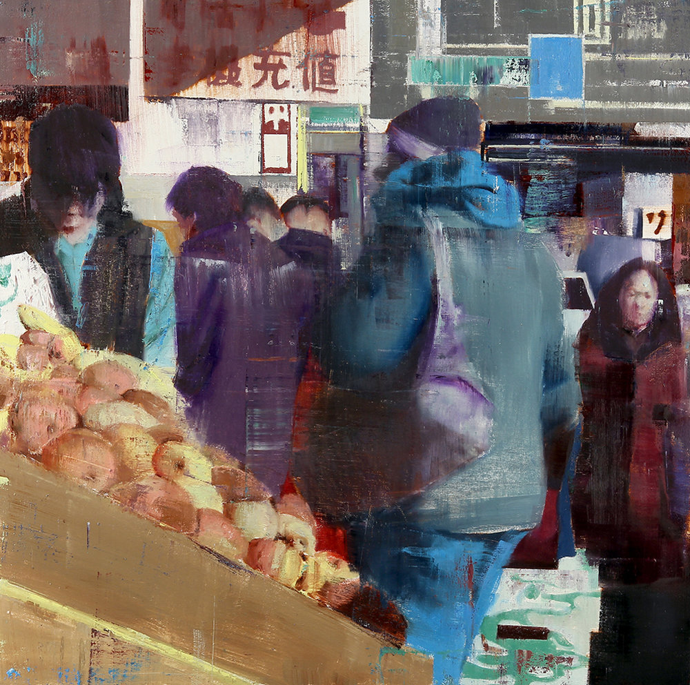 Flushing, Queens 9-10am (Waiting#179)  oil on wood  36x36 inches  2013