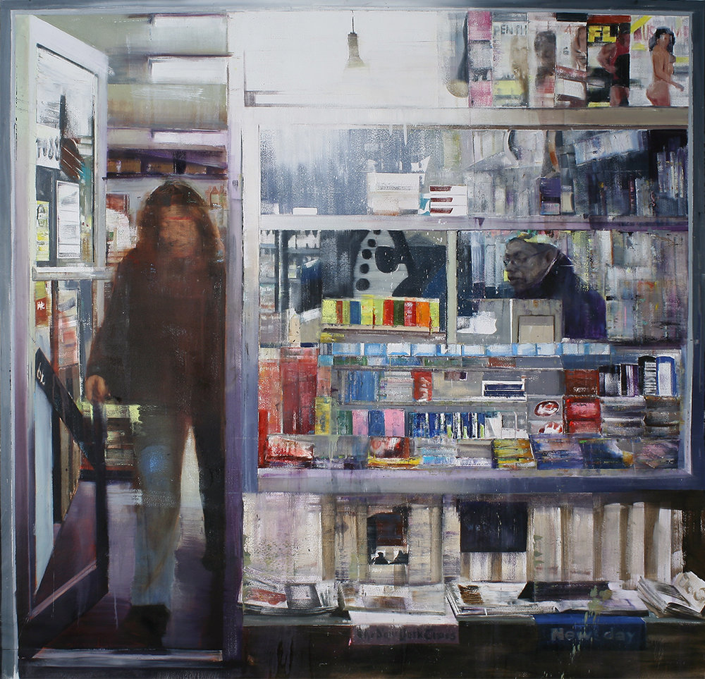 Hillside and 179th,Queens 8-9pm (Waiting#180)  oil on canvas   72x84 inches  2013