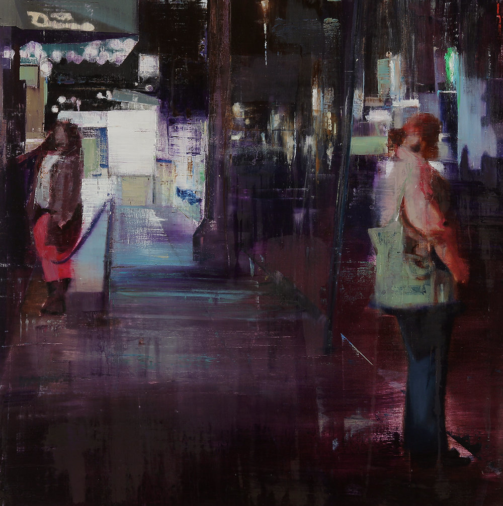 Webster Hall 11-12pm (Waiting#174)  oil on wood      36x36 inches    2013