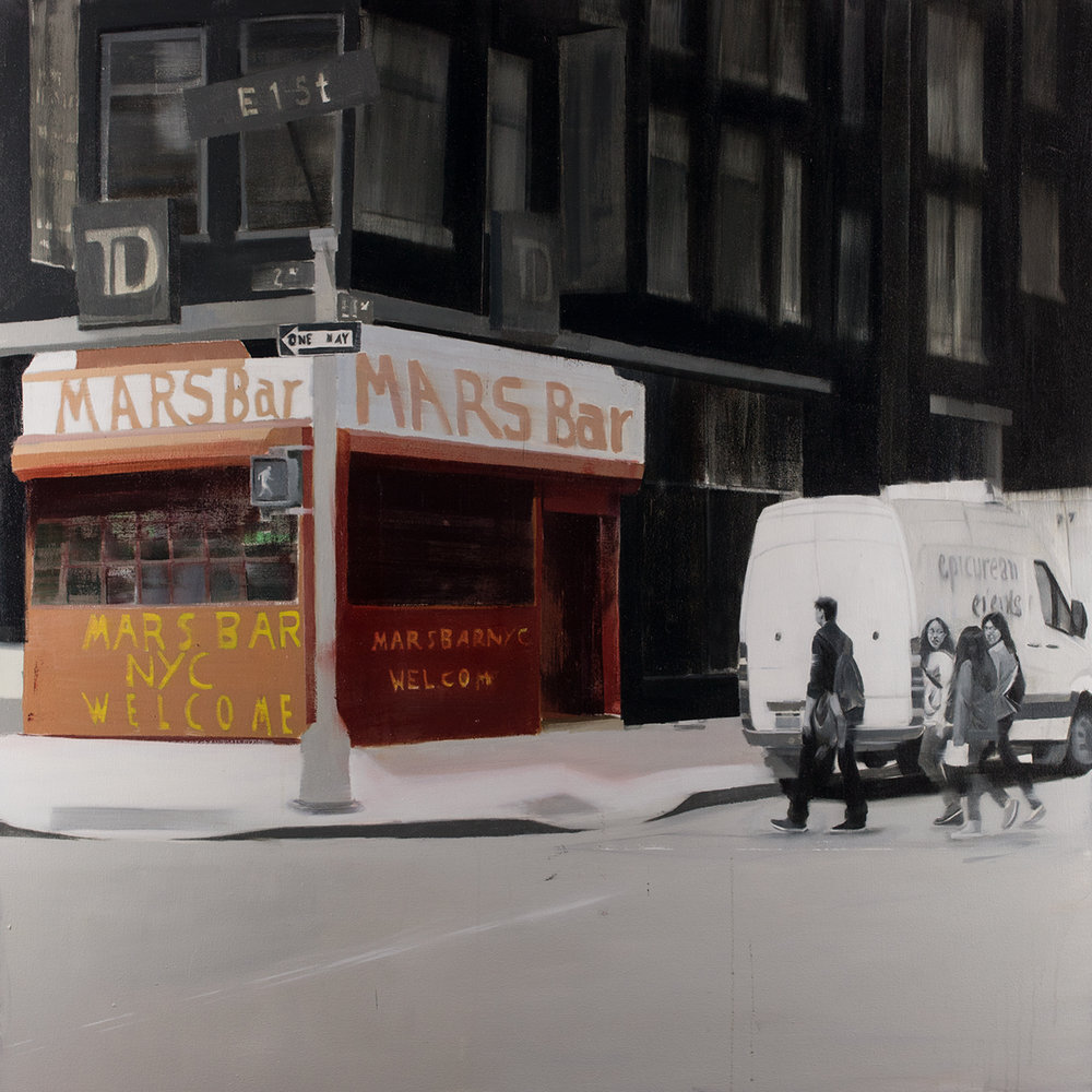 Mars Bar (Waiting#247)  oil on canvas     48x48 inches  2015