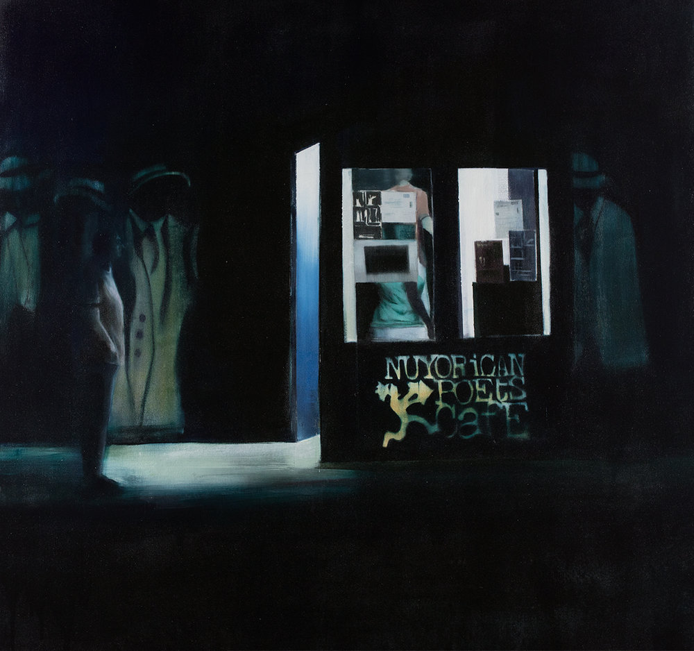 Nuyorican Poets Cafe (Waiting#238)        oil on canvas        48x48 inches    2015