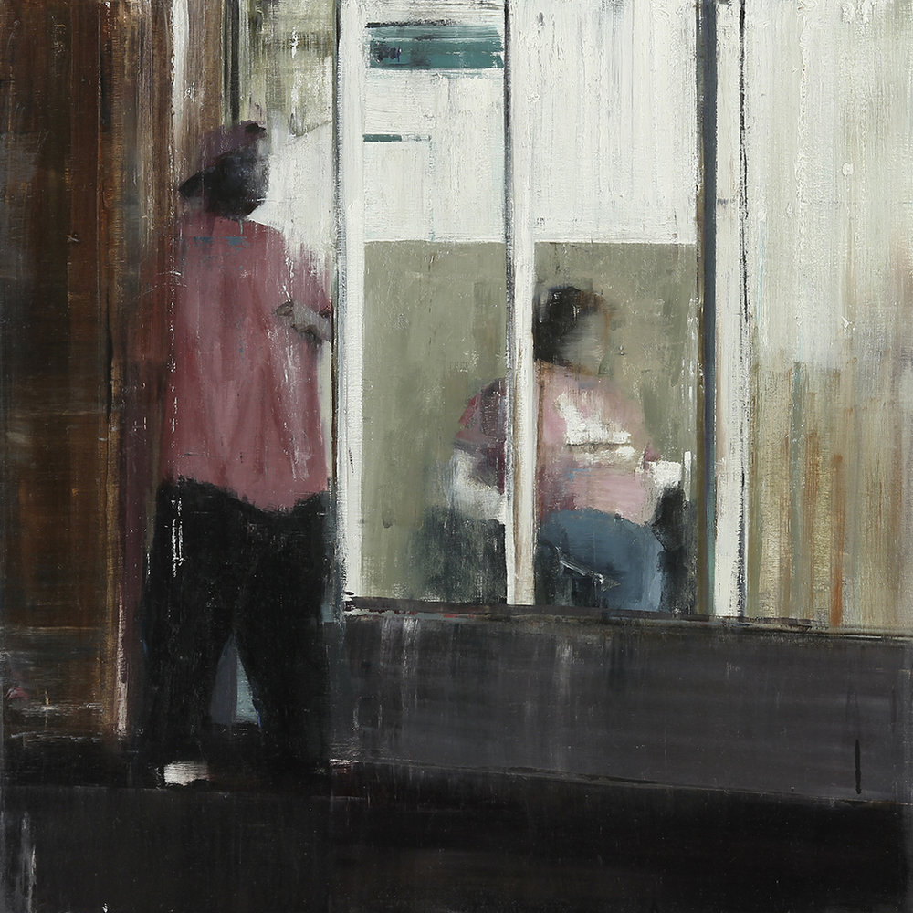 "Waiting #161  oil on wood    2013  30""x30"""