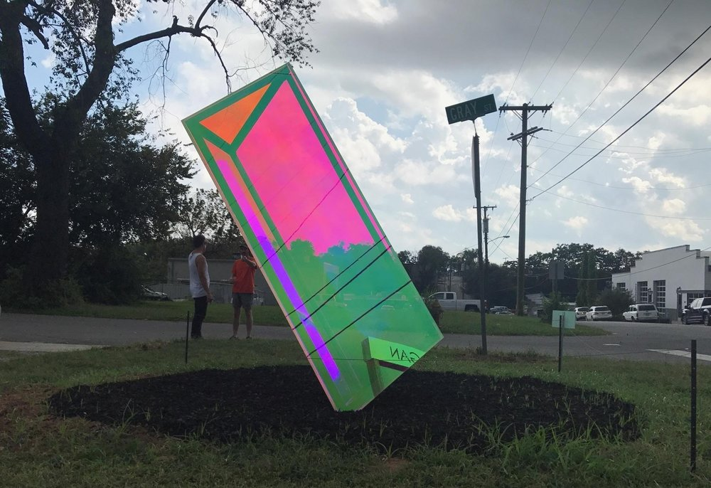 Bending Normal by Marcus Manganni  Acrylic, Dichroic film, and Steel. Installed 2017.  Learn More about this piece at the artist's website  HERE .