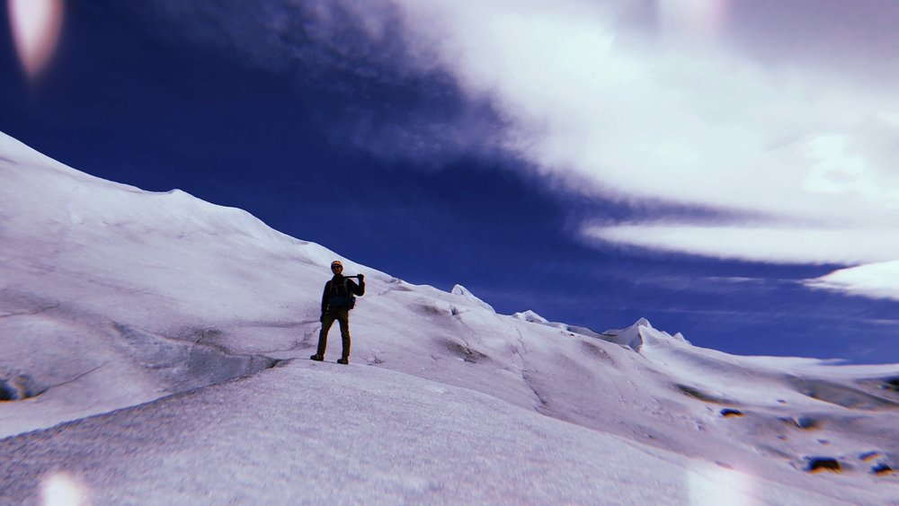 ACTION AT WORK — SOUTHERN PATAGONIAN ICE FIELD, CHILE