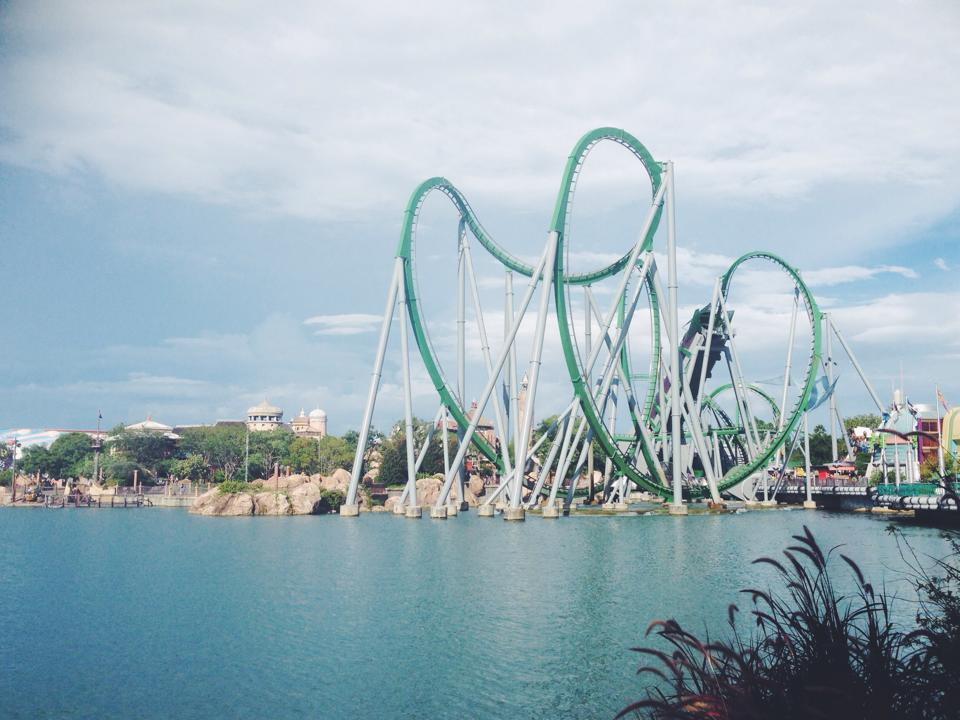 The Hulk ride at Universal Studios, Orlando, Florida - the fastest, most intense ride ever