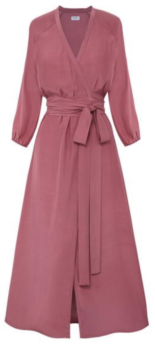 Jagger Silk Wrap Dress, Dusty Rose
