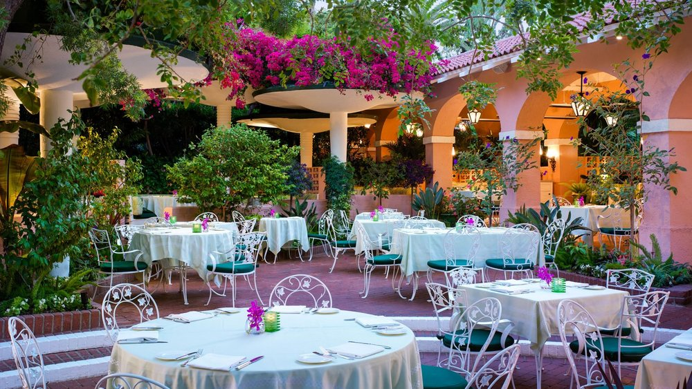 The signature pink and green motif at  The Polo Lounge ,Beverly Hills.