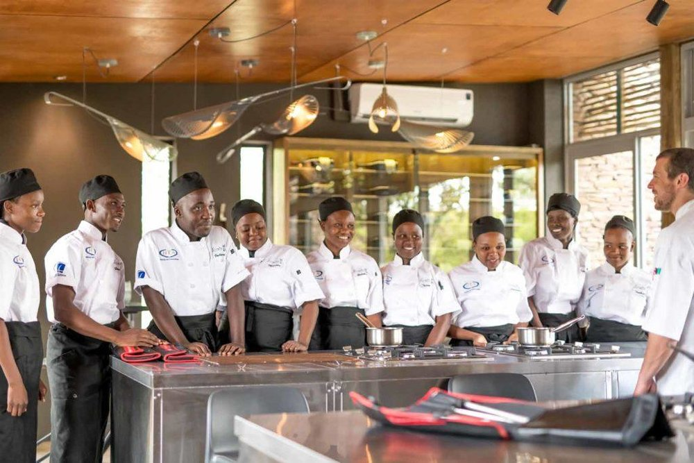 Students and staff of the unique  Singita Community Culinary  School