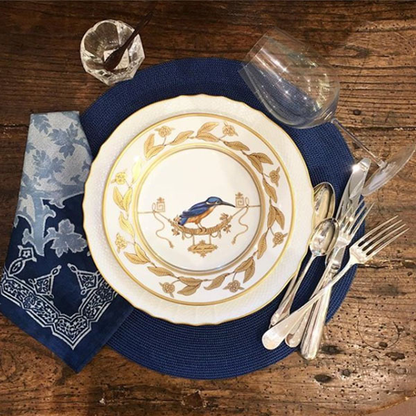 Richard Ginori Voliere dinnerware at Sue Fisher King