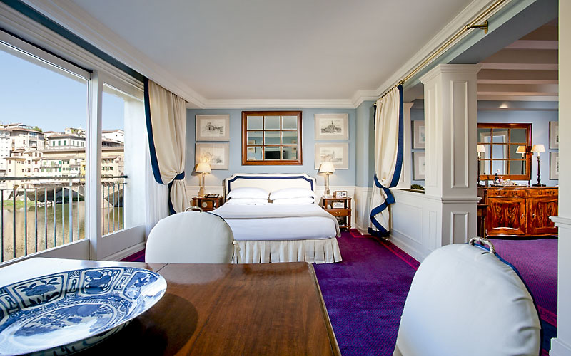 One of Hotel Lungarno's sumptuous suites along the Arno river.