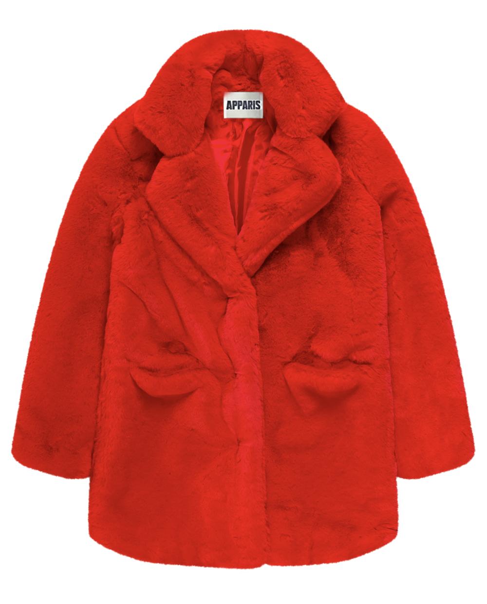 Sophie Red Faux Fur Coat