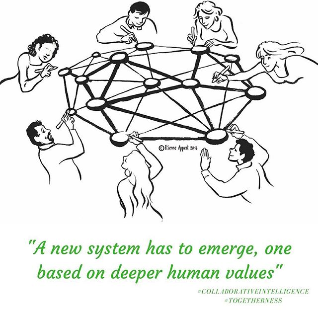 A new system has to emerge, one based on deeper human values.  #collaborativeintelligence #togetherness #training #management #culture #courage #performance #teal #businessintelligence #changemanagement #coaching #collective #communication #holacracy #humancapital #teambuilding #engagepeople #leadingteams #teamperformance #reinventingorganizations #tealorganizations #laloux #selfmanagement #selforganise #veränderungsmanagement