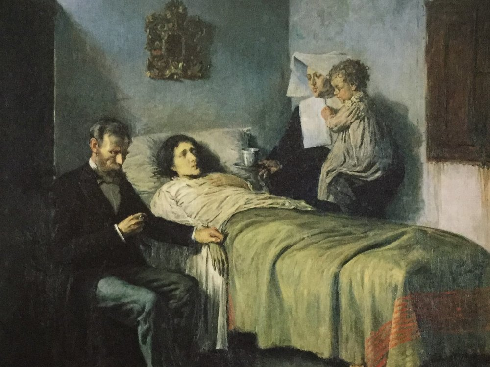 Painting by Pablo Picasso 'Science and Charity' (1897).jpg