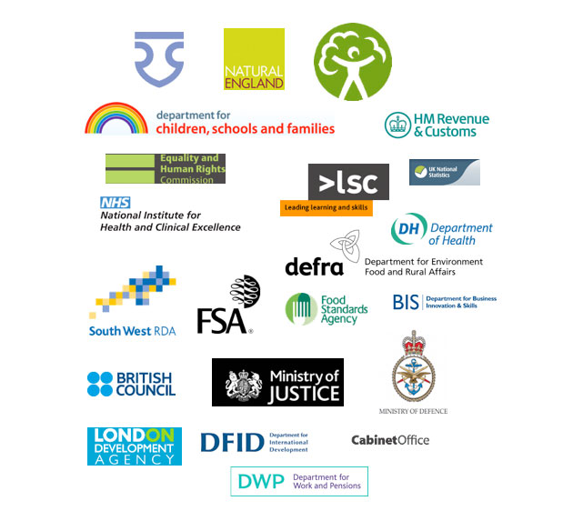 Public sector clients, NHS, FSA, DEfra, LSV, DOH, Cabinet office, ministry of defence