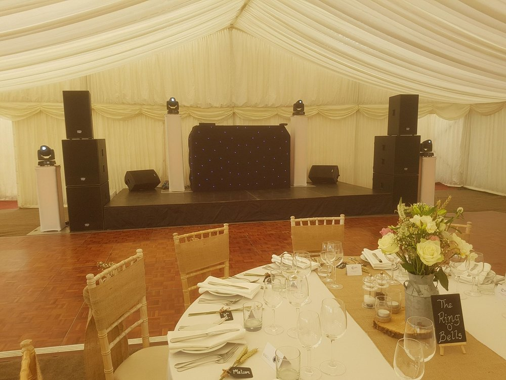 All day hosting including microphones for speeches and background music £425.00    Ideal for marquee weddings, our DJ will arrive in the morning to set up. They are then on hand to make your day run smooth. They can use the microphone to get the attention of guests, make announcements. They can also liaise with other suppliers such as caterers and photographers. Our professional equipment can be used for the speeches and to add music when needed.