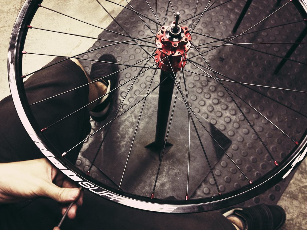 Wheel Building and Servicing - All our purpose built road, mountain and BMX wheels are built to the highest standards.  Speak to us and we can advise you on rims, hubs and spokes.Wheel builds start from £25 + rim, hub, spokes and nipples. Great wheels give great performance whilst enhancing the look of your bike.