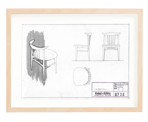 Sigurd Resell. Signed 1956. Made for Gustav Bahus. Ca. A4 size. Pencil. Mounted on 30x40 cm backing board. Price NOK 4000.