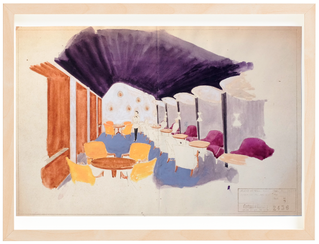 Grand Hotel Oslo. 1953. Drawing by Torbjørn Bekken. Watercolors. Ca. 48x32 cm. Mounted on 40x50 cm backing board. Price NOK 6000.