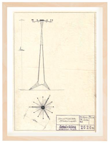Stortinget, stumtjener. 1956. Drawing by Arne Halvorsen. Ca. A4 size. Pencil. Mounted on 30x40 cm backing board. Price NOK 3000.