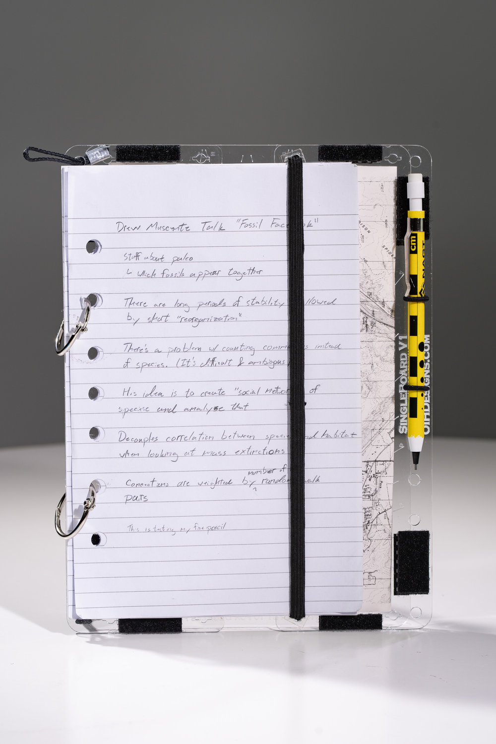 The SingleBoard has holes in the correct places to hold 7-hole binder paper. Add your own paper with binder loops.
