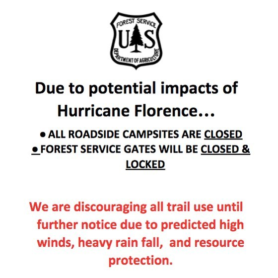 The U.S. Forest Service, Forest Supervisor, having closely tracked the forecast models of Hurricane Florence, has decided to close down all campgrounds and recreation sites, day use or overnight, in the Nantahala and the Pisgah National Forests by Thursday September 13th at noon. This will include the temporary suspension of creating reservations on recreation.gov. Cancelled reservations, for this timeframe, will be refunded by the reservation service.  For more info, click the link below.  https://www.fs.usda.gov/detail/nfsnc/news-events/?cid=FSEPRD595457 ⠀ #HurricaneFlorance #PisgahNationalForest #Slidingrock #slidingrocknc #slidingrockfalls #pisgahcampgrounds #davidsonrivercampground #northmillscampground #sunburstcampground #lakepowhatancampground ⠀ #HurricaneFlorance #PisgahNationalForest #Slidingrock #slidingrocknc #slidingrockfalls #pisgahcampgrounds #davidsonrivercampground #northmillscampground #sunburstcampground #lakepowhatancampground