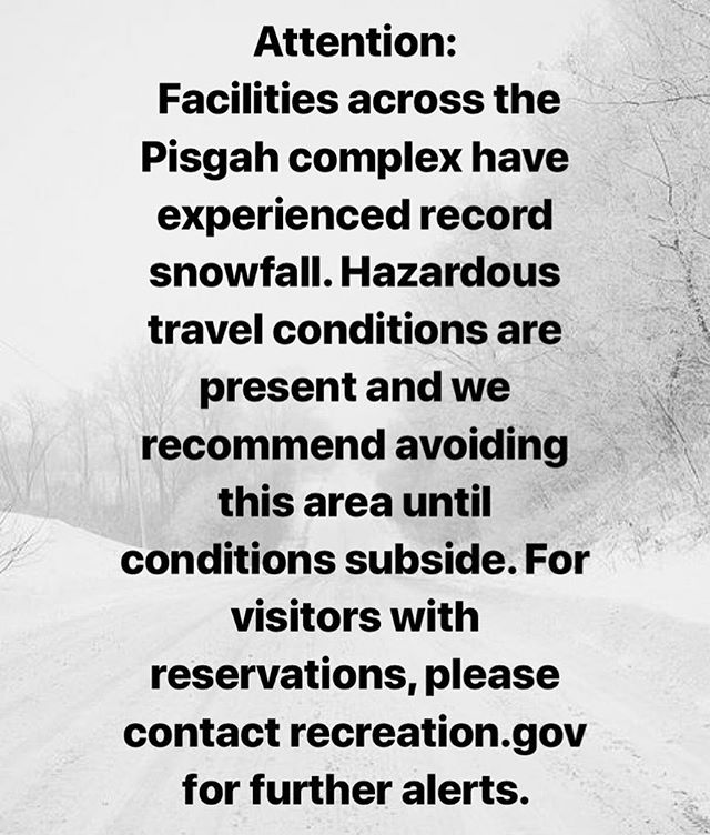 Attention: Facilities across the Pisgah complex have experienced record snowfall. Hazardous travel conditions are present and we recommend avoiding this area until conditions subside. For visitors with reservations, please contact recreation.gov for further alerts. #staysafe #staywarm #slidingrockfalls #pisgahnationalforest