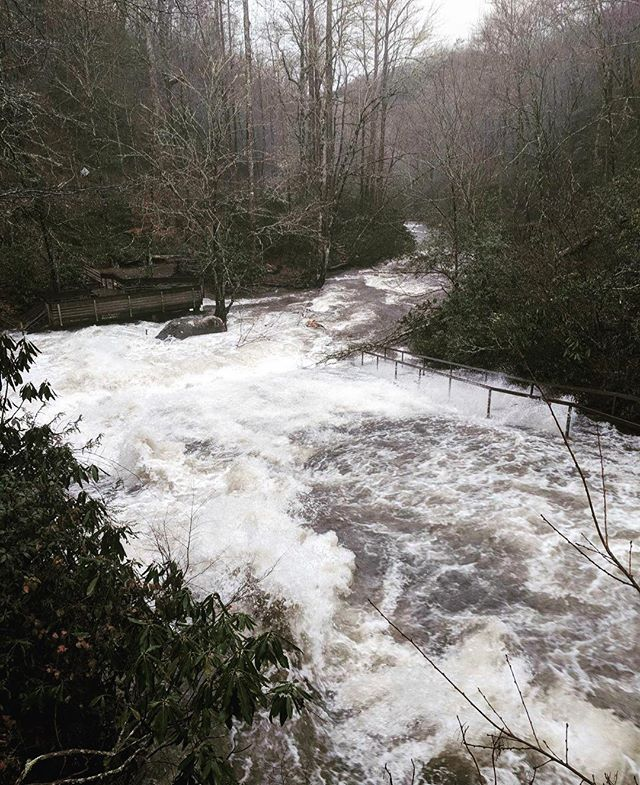 A little glimpse at Sliding Rock after the mass amounts of rain we just had. #somuchrain #slidingrock #slidingrockfalls #slidingrocknc #rainedout #waterfalls #ncwaterfalls