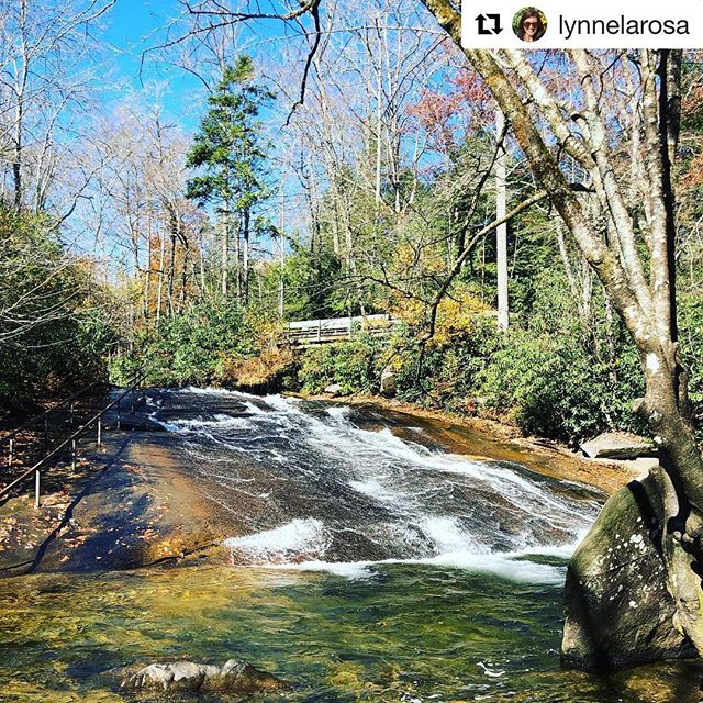 Shout out to @lynnelarosa who seriously gave us picture envy and now we just can't wait until summer. Come join us at #slidingrockfalls this summer to see these stunning views #IRL #pisgahnationalforest #waterfalls #slidingrocknc