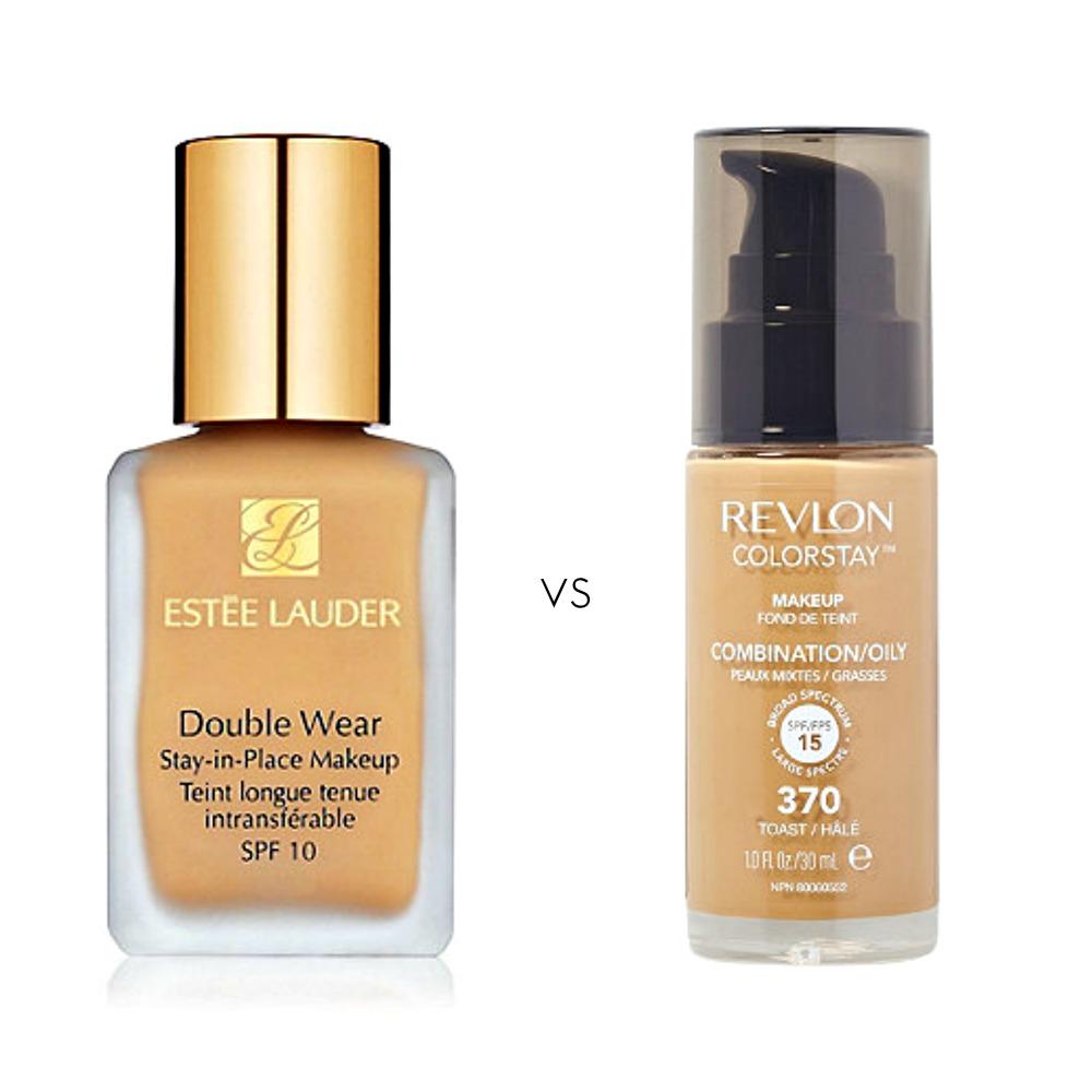 Left: Estee Lauder Double Wear, $42 ulta.com              Right: Revlon ColorStay, $12.99 ulta.com