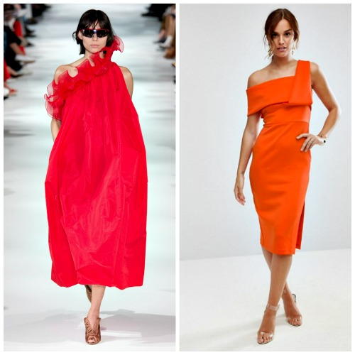 Right: Stella McCartney Spring 2018 Ready To Wear Collection  Left: Asos One Shoulder Fold Scuba Dress, $72