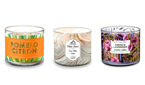 From Right to Left:  Bath & Body Works French Lavender 3 Wick Candle, $24.90, White Barn Pure White Cotton 3 Wick Candle, $24.99, Bath & Body Works Pomelo Citron 3 Wick Candle, $24.99.