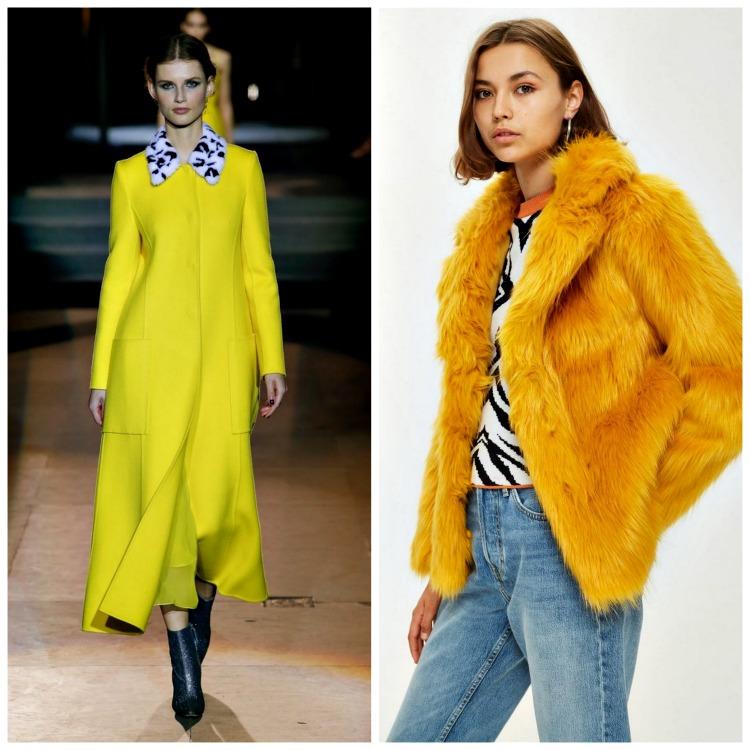 From left: Oscar de la Renta Fall 2018;  TopShop Faux Fur Coat , $150