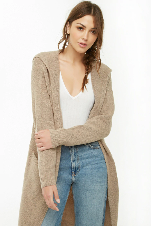Forever 21 Longline Hooded Cardigan, $22.90