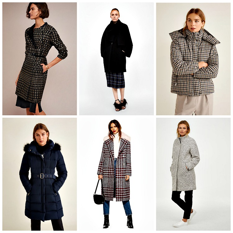 From left to right: BI-ink Letty Coat, $248;    anthropologie.com   ; Coat with Wrap Collar, $249;    zara.com   ; Quilted Jacket, $149.99;    mango.com   ; Quilted Feather Coat; $169.99;    mango.com   ; Faux Fur Collar Check Coat; $180;    topshop.com   ; Coat with Stand-up Collar; $79.99,    hm.com