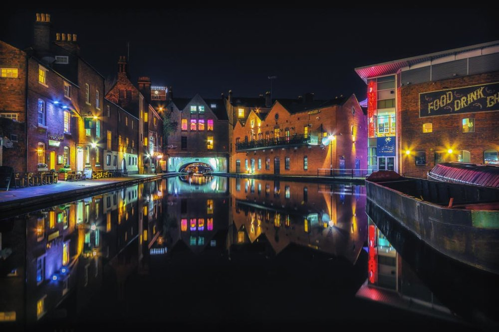 NIghttime Canal Reflections