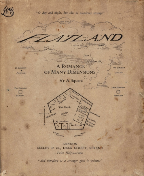 Flatland, by Edwin Abbott, 1884 - Original cover art. Image from https://en.wikipedia.org/wiki/Flatland