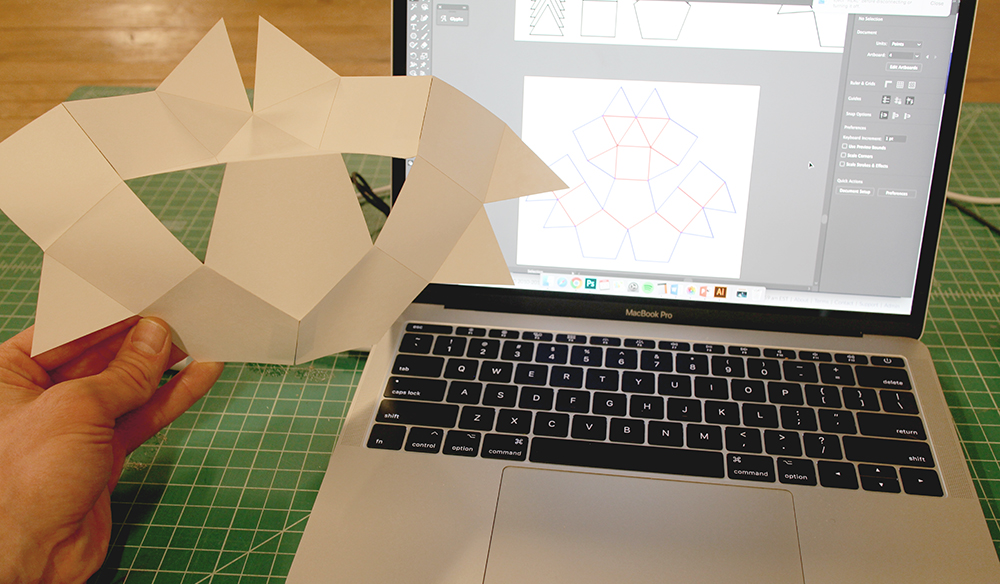 The first prototype based on initial exploration of combining shapes.