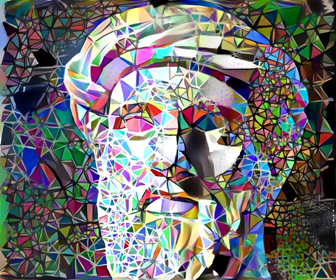 Image of Pythagoras and tesseracts remixed using Deep Dream Generator.