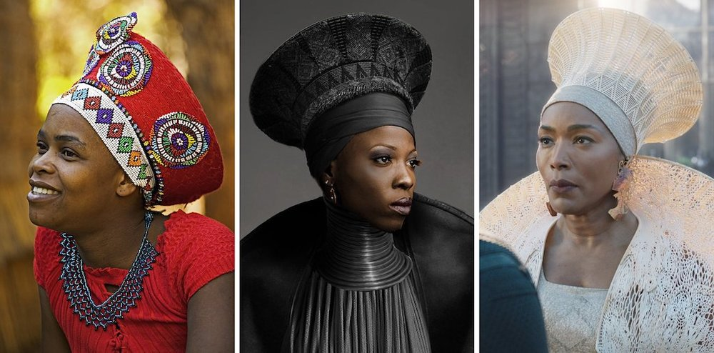 Left, a Zulu woman in the traditional headdress of a married woman; center, a conceptual costume sketch by Ms. Carter (design) and Ryan Meinerding and his team (concept artists); and right, the 3D printed headdress as worn by Angela Bassett in the movie. Credit Getty Images; Marvel; Marvel/Disney