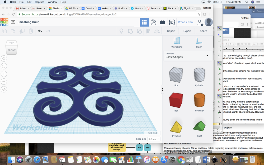 Adinkra symbol as 2D vector drawing and as 3D printed solids