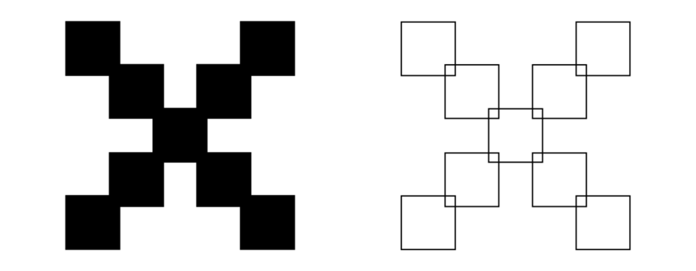 Democracy symbol as a filled 2D shape and as a set of overlapping squares