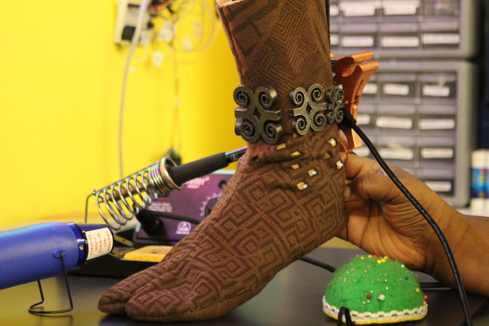 Dora Milaje Tabi Boot with 3D printed anklet and embedded electronics (LEDs).