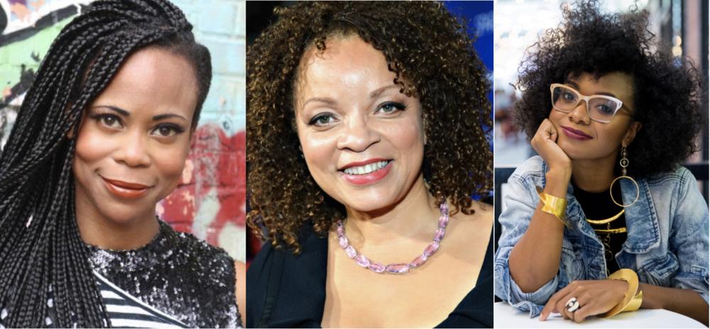 Inspirational women designers from Black Panther - Left: Hannah Beachler, set designer; Center: Ruth Carter, costume designer; Right:Douriean Fletcher, jewelry designer