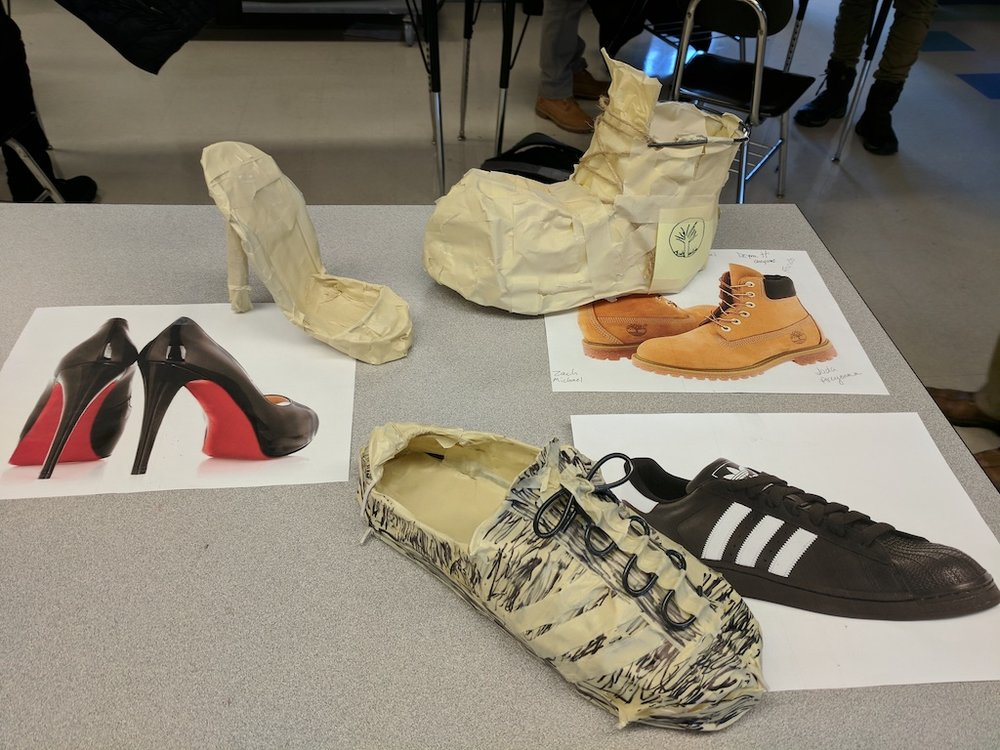 Shoe prototypes and inspirations. Courtesy of Colin Christy.