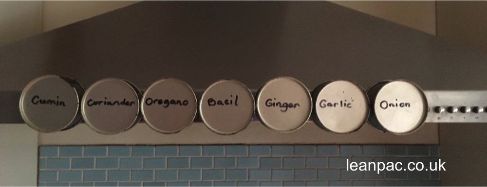Magnetic idea! Advanced spice stand, saving FRACTIONS of seconds. Homemade containers to house the few most frequently used spices at LESS than an arms reach on the cooker hood!